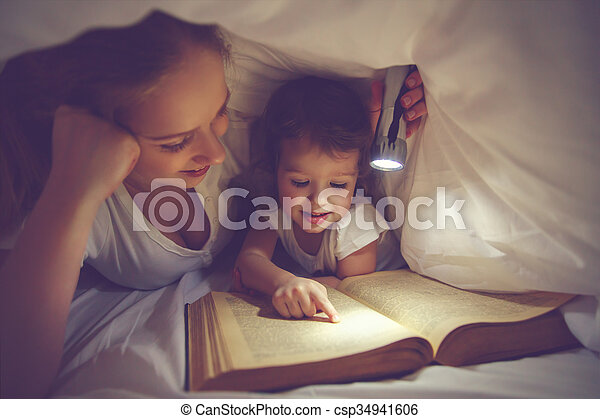 Family reading bedtime mom and child reading book with a stock family reading bedtime mom and child reading book with a flashlight under blanket csp34941606 sciox Gallery