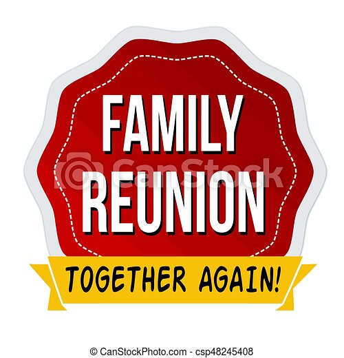 Family reunion illustrations and clipart 480 family reunion royalty family reunion label or sticker on white background vector thecheapjerseys Image collections