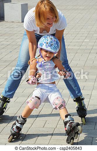family rollerblading - csp2405843