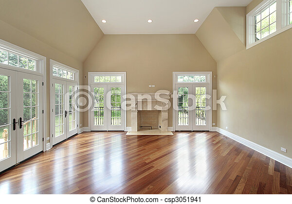 Family room in new construction home - csp3051941