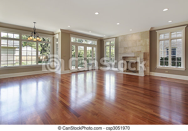 Family room in new construction home - csp3051970