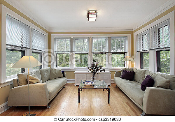 Family room with wall of windows - csp3319030