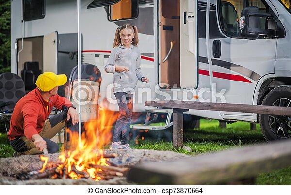 Family RV Road Trip Campsite - csp73870664