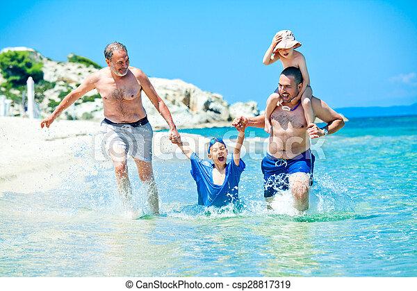 family sea run fun vacation - csp28817319
