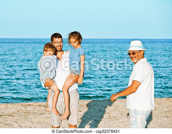 Family sea vacation generations - csp32376431