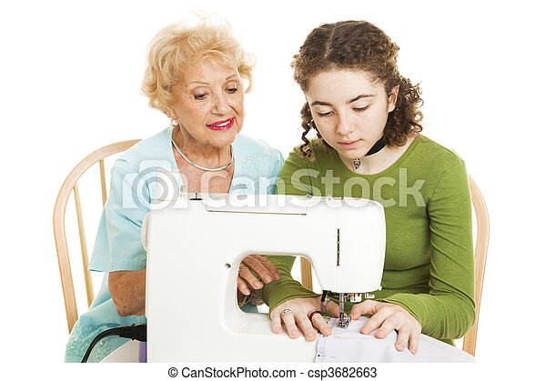 Family Sewing Lesson - csp3682663