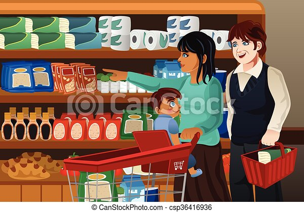 Family shopping grocery together. A vector illustration of ...