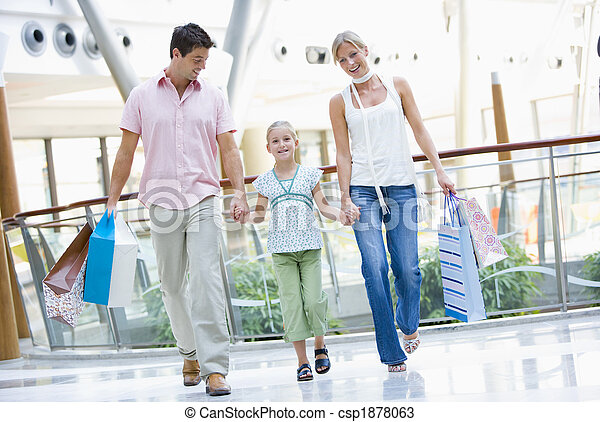 Family shopping in mall - csp1878063