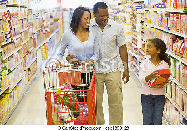 Family shopping in supermarket - csp1890128