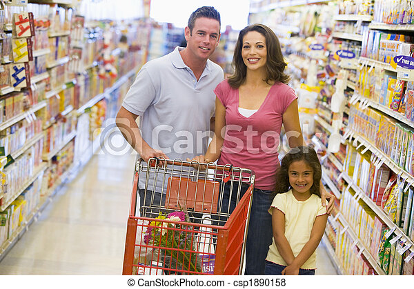 Family shopping in supermarket - csp1890158