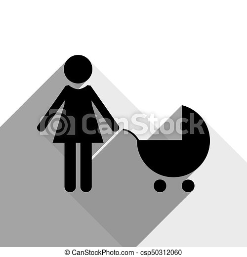 Family sign illustration. Vector. Black icon with two flat gray shadows on white background. - csp50312060