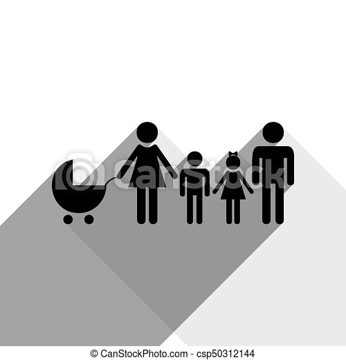 Family sign illustration. Vector. Black icon with two flat gray shadows on white background. - csp50312144