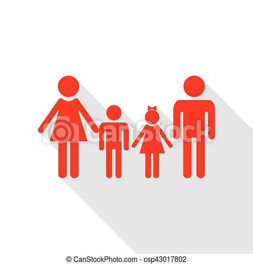 Family sign. Red icon with flat style shadow path. - csp43017802
