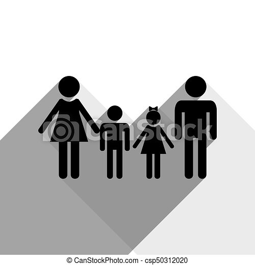 Family sign. Vector. Black icon with two flat gray shadows on white background. - csp50312020