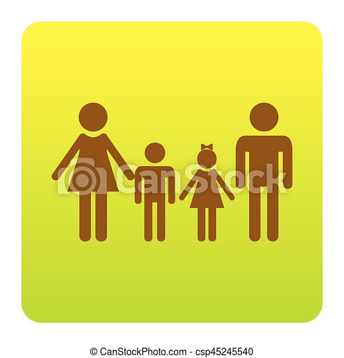 Family sign. Vector. Brown icon at green-yellow gradient square with rounded corners on white background. Isolated. - csp45245540