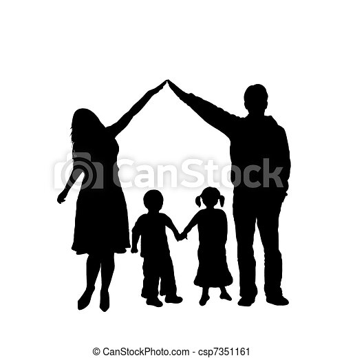 caring family silhouette isolated on white clipart search rh canstockphoto com holy family silhouette clip art free Cartoon Family Clip Art