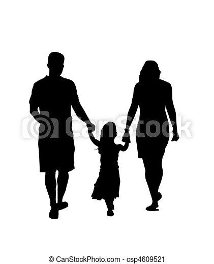 Family Silhouette Walking - csp4609521