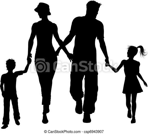 family silhouette walking  - csp6943907