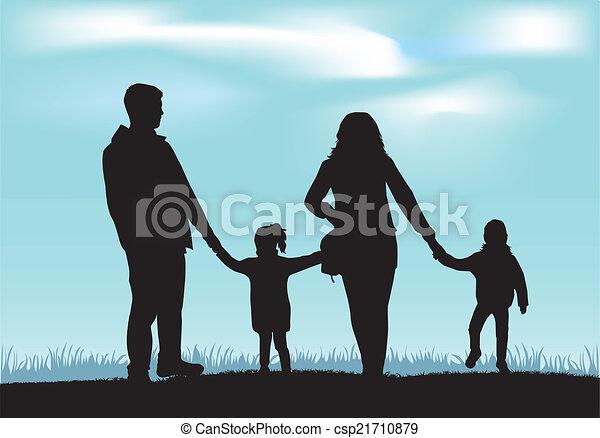 Family silhouettes - csp21710879