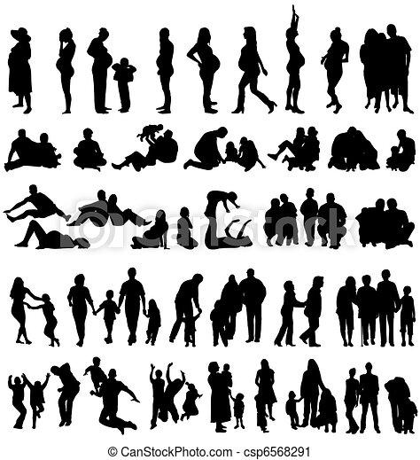 family silhouettes - csp6568291