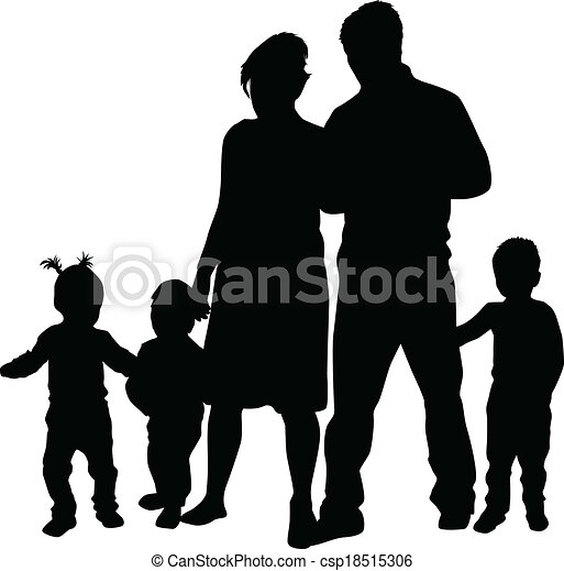 family silhouettes vector clipart search illustration drawings rh canstockphoto com family tree silhouette vector family silhouettes vector free
