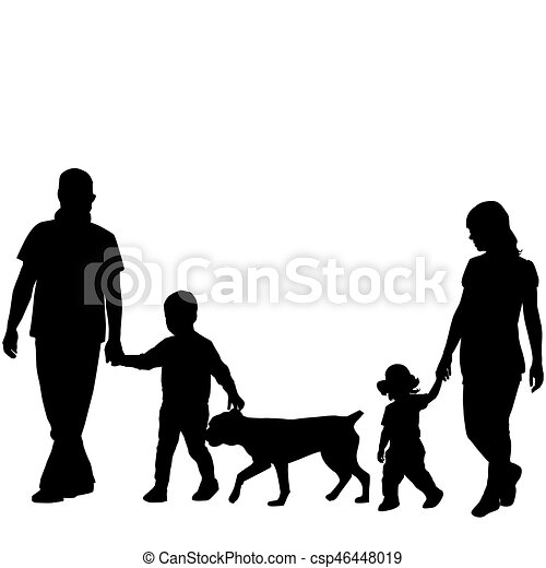 family silhouettes with two children and dog rh canstockphoto com