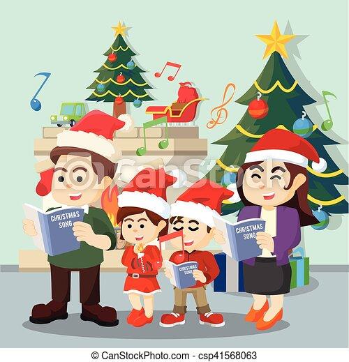 Family singing christmas carol.