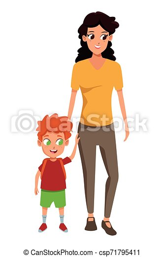 Family Single Parent With Children Cartoon Family Single Mother With Children Holding School Backpack Cartoon Isolated Canstock
