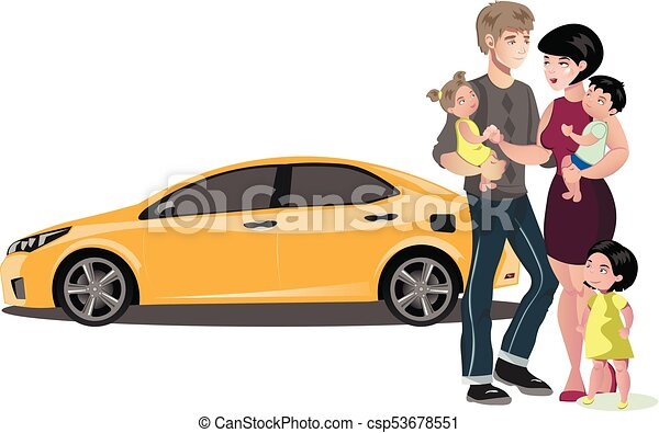 Family standing near new car. - csp53678551