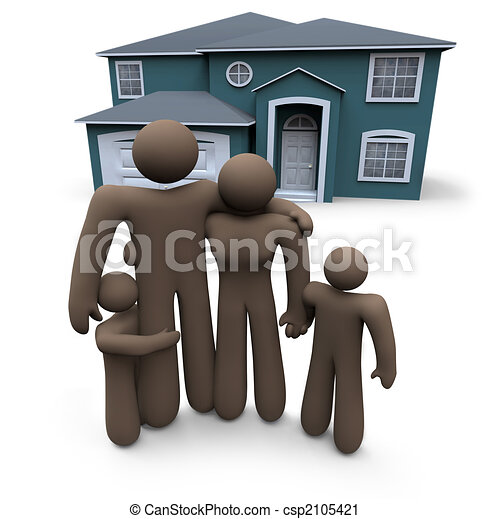 Family Stands in Front of House - csp2105421