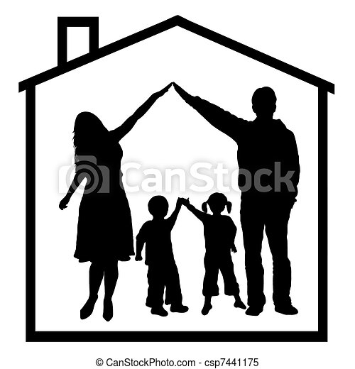 Family In Dream House Isolated On White