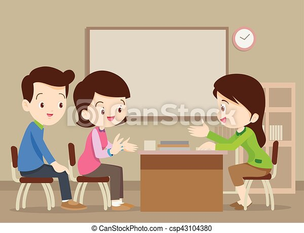 family talking with teacher parent meeting with teacher in classroom
