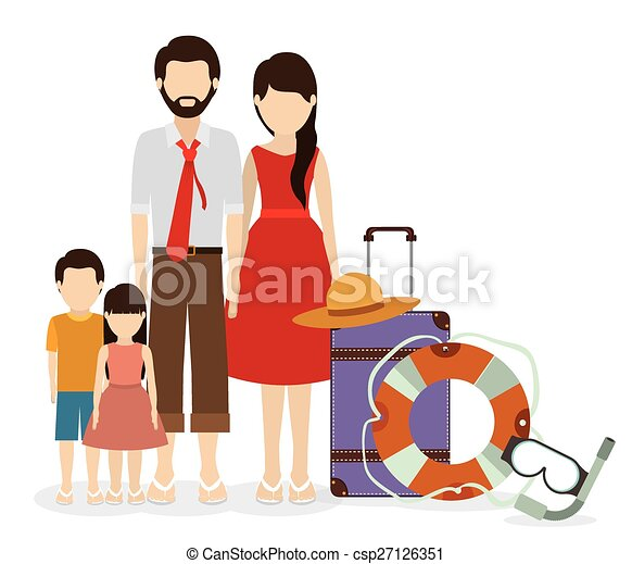 Family Travel Design Desing Over White Vector