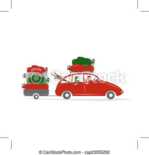 Family traveling by red car with luggage - csp23055292