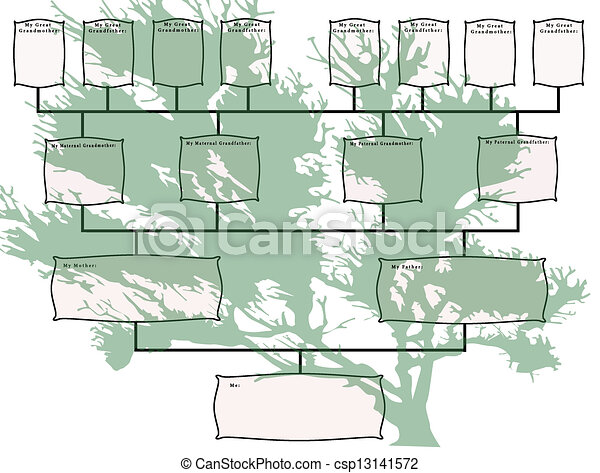 Family Tree Chart with Green Tree - csp13141572