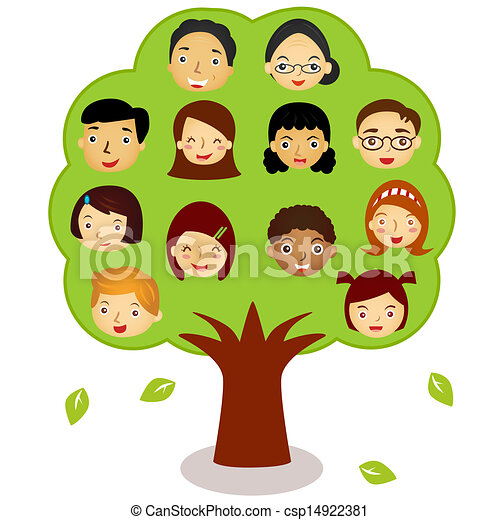 vector icons family tree different ethnics isolated on vector rh canstockphoto com clipart family tree maker clipart family tree black and white