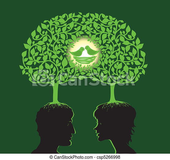 Family Tree Vector Illustration Of Two People Dreaming About