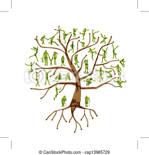 Family tree, relatives, people silhouettes - csp13965729