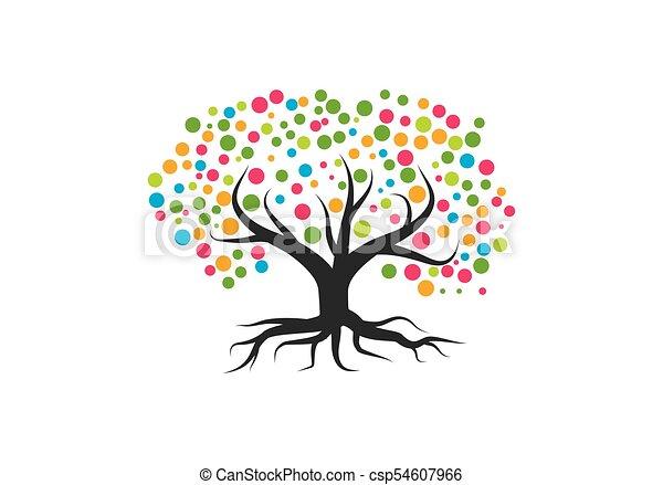 Family Tree Symbol Icon Logo Design Template Clip Art Vector