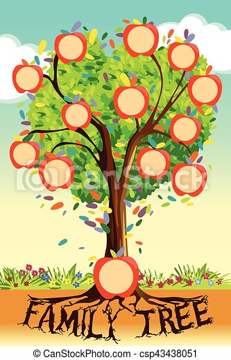 A Vector Illustration Of Family Tree Template Clipart Vector