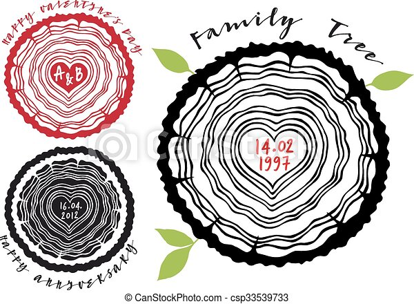 Family tree with heart rings - csp33539733
