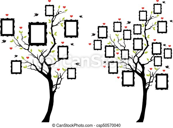 family tree with photo frames, vector - csp50570040