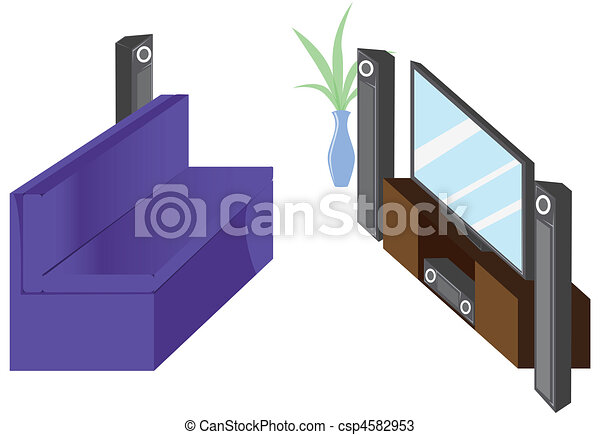 Family Tv Lounge Stock Illustration