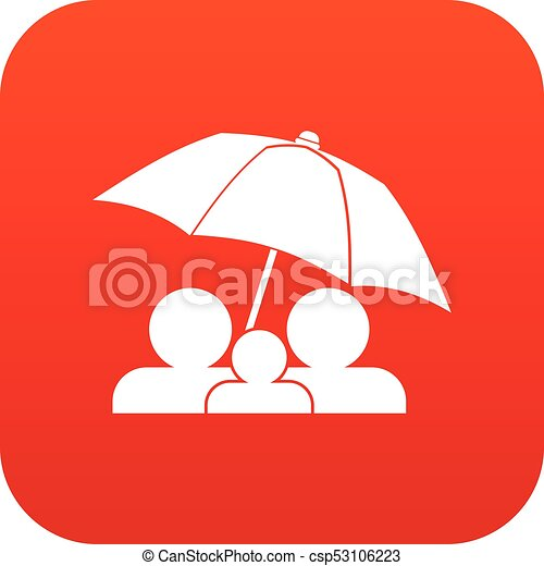 Family under umbrella icon digital red - csp53106223