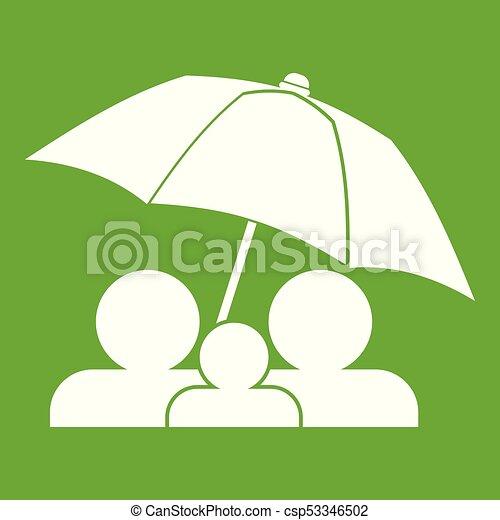 Family under umbrella icon green - csp53346502
