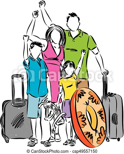 Family Vacation Vector Illustration