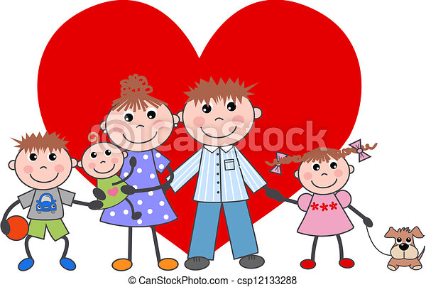 family valentines day love - csp12133288