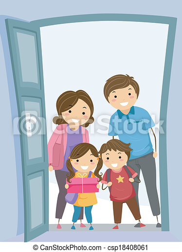 illustration of a family visiting another family s house