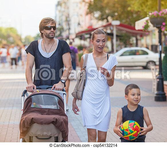 Family Walk Downtown - csp54132214