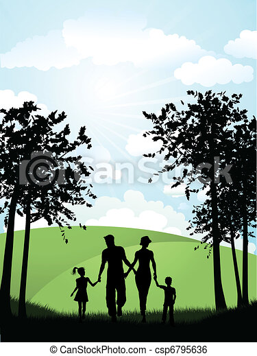 Family walking outside - csp6795636
